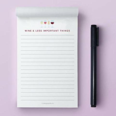 Classy Cards - Notepad - Wine And Less Important Things