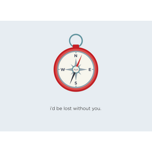 Paper Hearts - Greeting Card - I'd Be Lost Without You - Compass