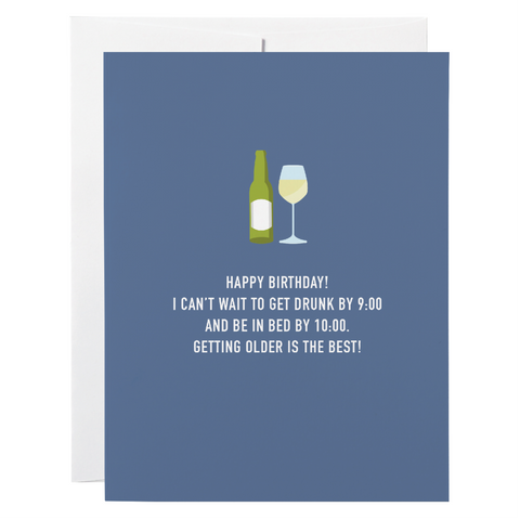Classy Cards - Greeting Card - Drunk By Nine, Bed By Ten