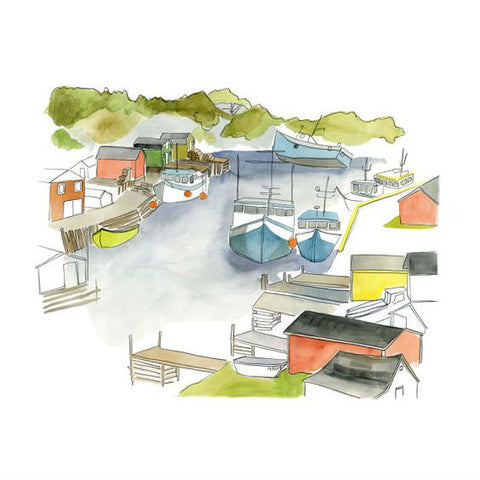 "Kat Frick Miller - Art Print - ""Boats on Trout River"""