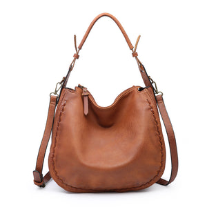 Brown Whipstitch Hobo Bag