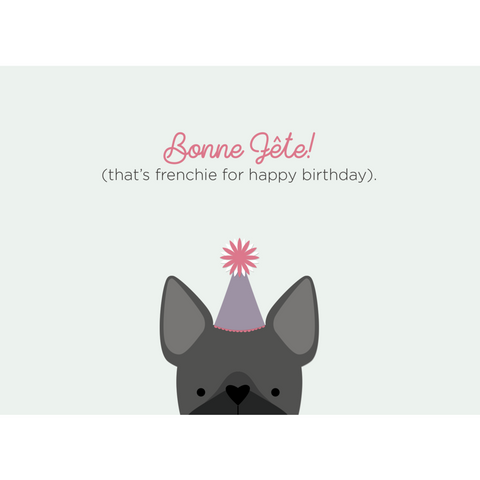 Paper Hearts - Greeting Card - Bonne Fete - Frenchie