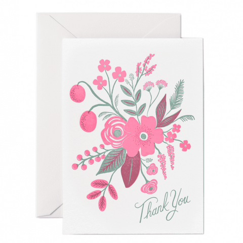 Rifle Paper Co. - Greeting Card - Thank You - Letterpressed Flowers