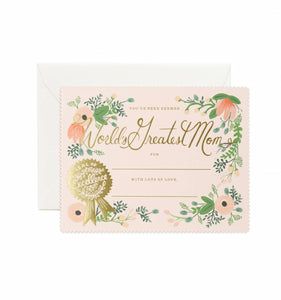 Rifle Paper Co. - Greeting Card - Mother's Day - World's Greatest Mom Certificate