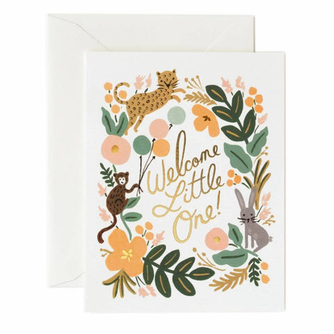 Rifle Paper Co. - Greeting Card - New Baby - Welcome Little One - Menagerie