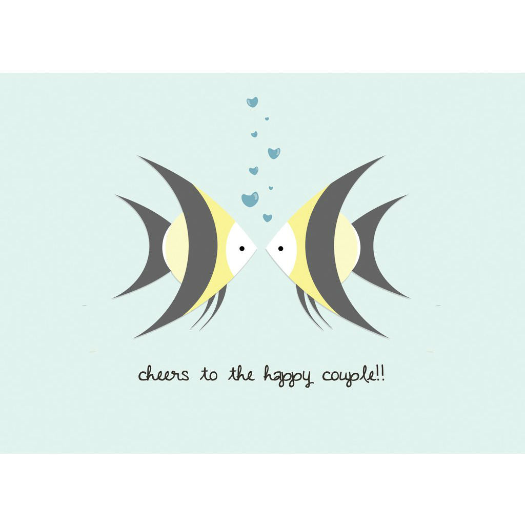 Paper Hearts - Greeting Card - Cheers To The Happy Couple