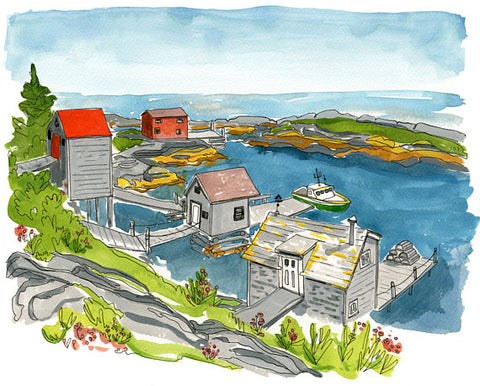 "Kat Frick Miller - Art Print - ""Fishing Shacks in Blue Rocks"""
