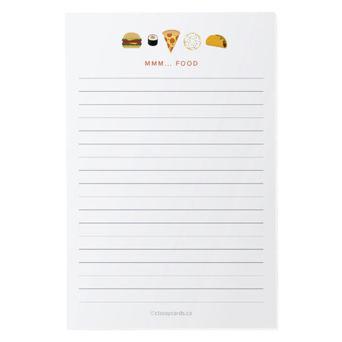Classy Cards - Notepad - Mmm... Food
