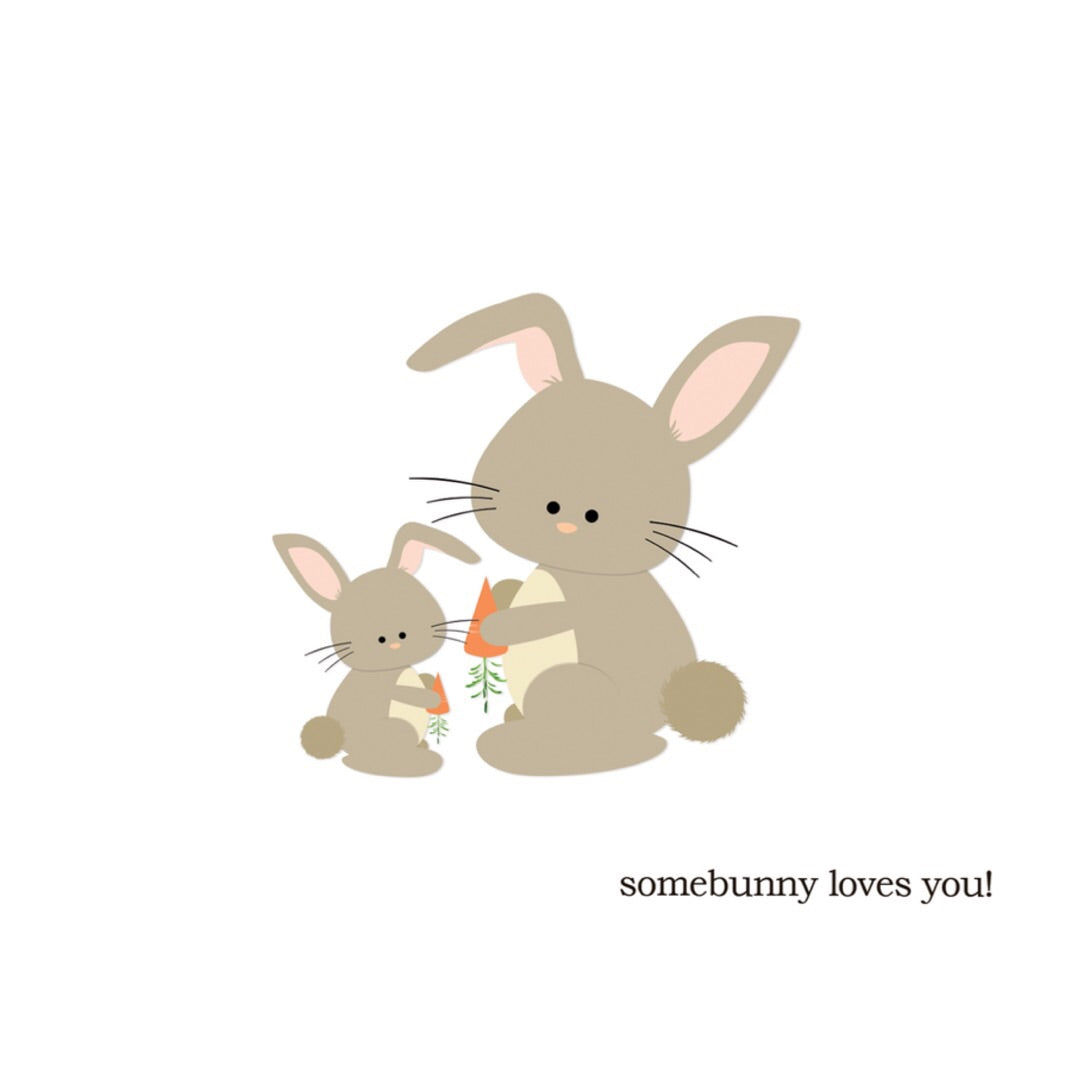 Paper Hearts - Greeting Card - Somebunny Loves You