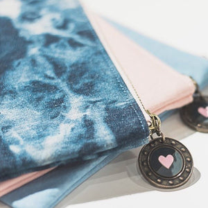 Paper Hearts - Denim Pouch - Blushing Denim