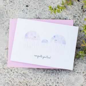 Paper Hearts - Greeting Card - Congrats You Two Jellyfish