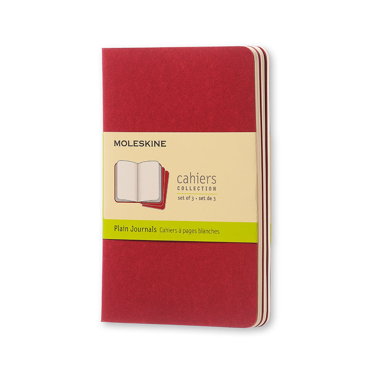 Moleskine Cahier 3 Pack - Pocket - Plain - Cranberry Red