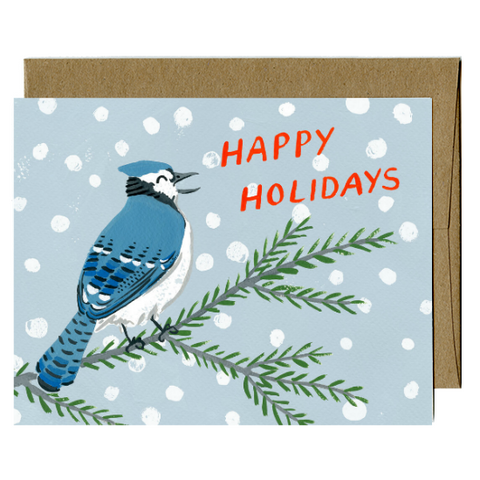 Kat Frick Miller - Greeting Card - Happy Holidays - Bluejay