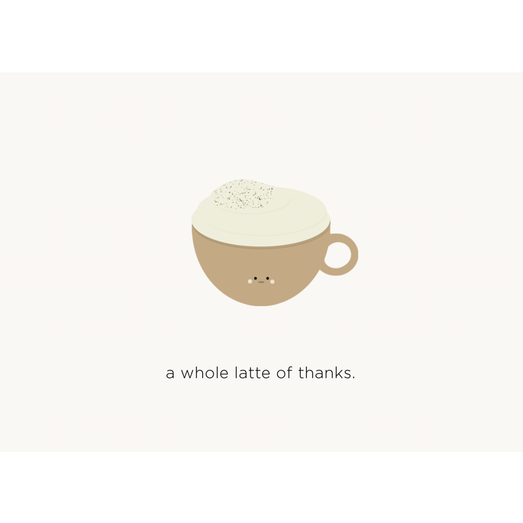 Paper Hearts - Greeting Card - A Whole Latte Of Thanks