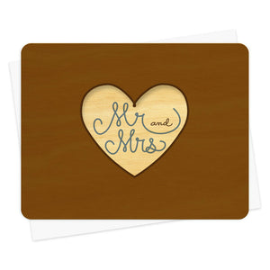 Night Owl Goods - Greeting Card - Wooden - Mr and Mrs - Married Heart