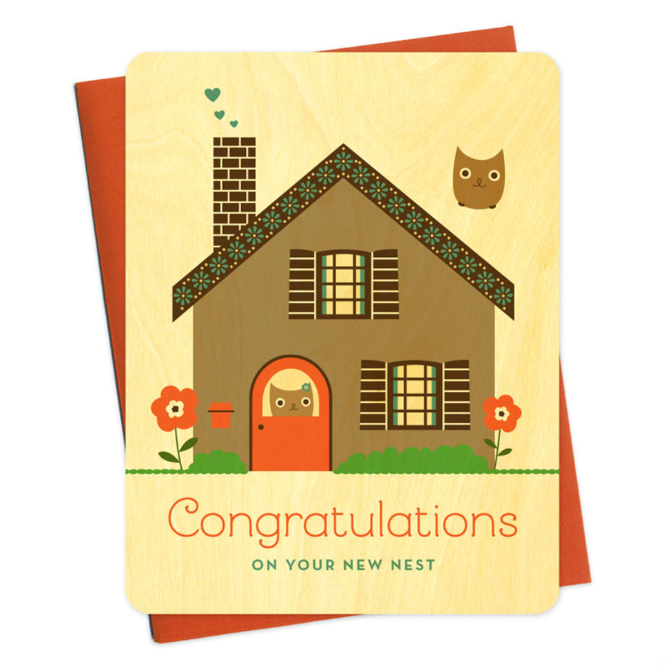 Night Owl Goods - Greeting Card - Wooden - Congratulations On Your New Nest