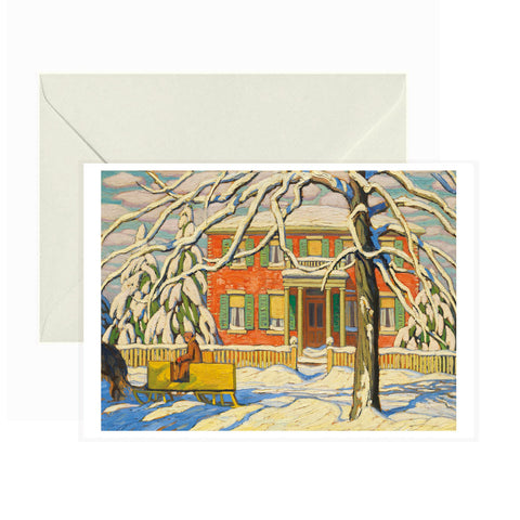 Pomegranate - Greeting Card - Red House and Yellow Sleigh - Lawren S. Harris
