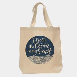 Happy Sappy Mail Canvas Tote - I Hear the Ocean in My Heart