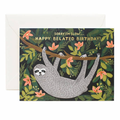 Rifle Paper Co. - Greeting Card - Birthday - Belated Sloth