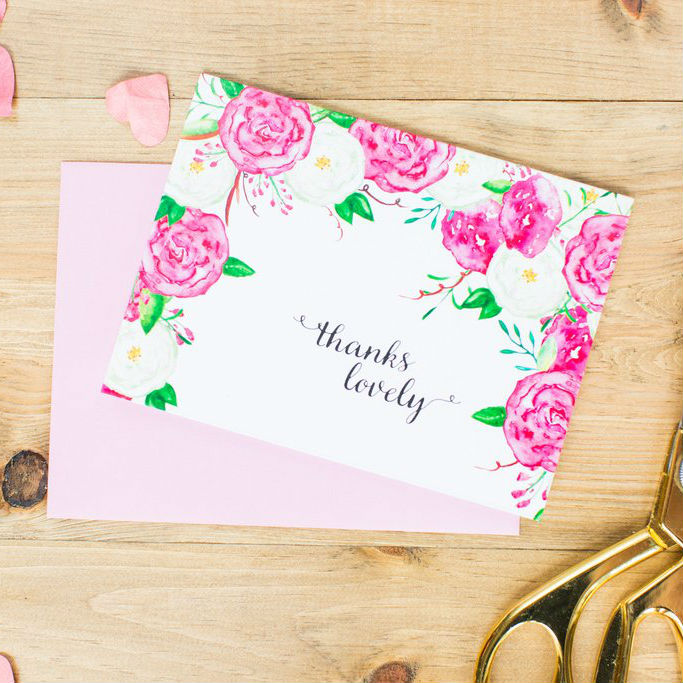 Paper Hearts - Greeting Card - Thanks Lovely - Watercolour Floral