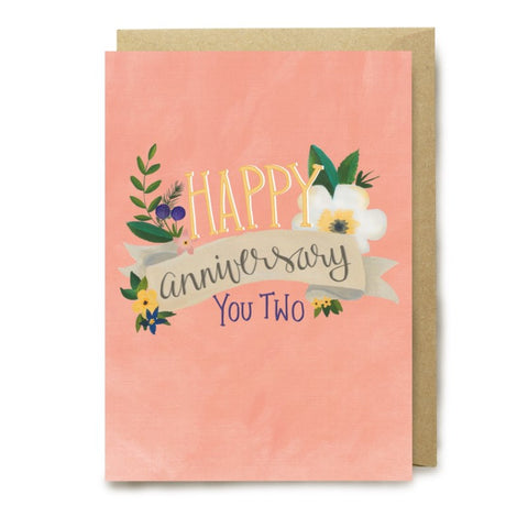 picture relating to Printable Greeting Card Stock identify Minimal Posy Print - Greeting Card - Joyful Anniversary Your self 2