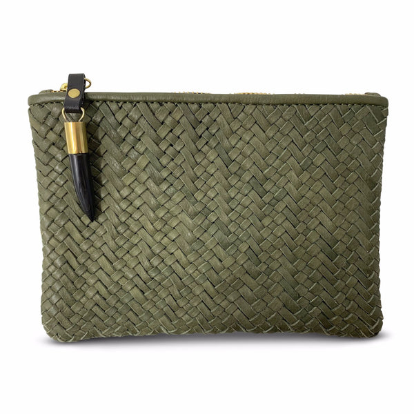 OLIVE WOVEN SMALL POUCH