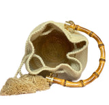 MINI GOLD HANDBAG WITH BAMBOO HANDLE