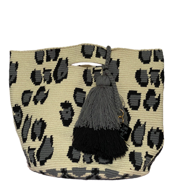 GREY LEOPARD BUCKET BAG