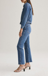 PINCH WAIST HIGH RISE KICK W/ CUT OFF HEM IN SUBDUED