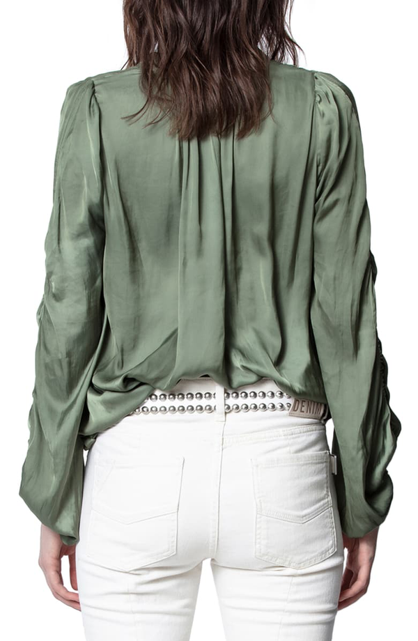 TWENTY RUCHED SLEEVE SATIN BLOUSE