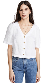Linen Puff Sleeve Button Up Shirt
