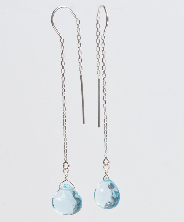 Silver Ear Threaders W/Blue Topaz
