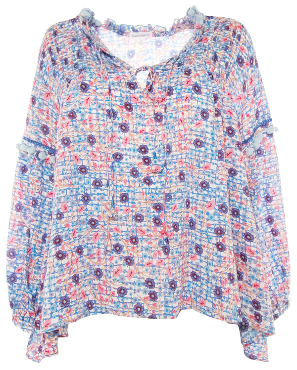 Clara Lace Trimmed Blouse - Blue Bloom
