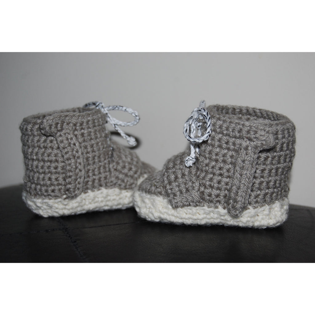 2a592fb3c8060 ... Kanye West Adidas Yeezy 750 Boost Inspired Crochet Baby Booties in  Original Grey Colorway - Baby ...