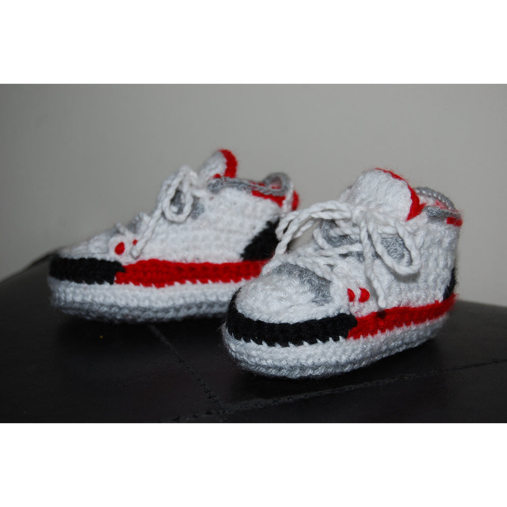 ... Nike Air Jordan 3 Crochet Baby Booties (Black Cement, White Cement,  True Blue ...