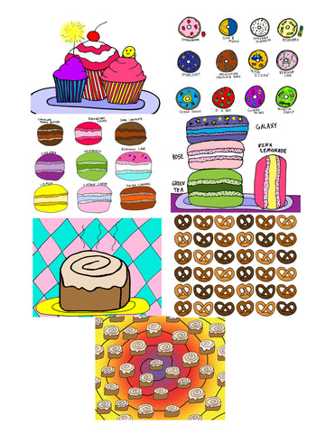 "Bakery Desserts Posters - 8.5"" x 11"" Prints - 7 Styles - Cupcakes/Doughnuts/Macarons/Macaroons/Cinnamon Rolls/Pretzels Sweets Wall Art"