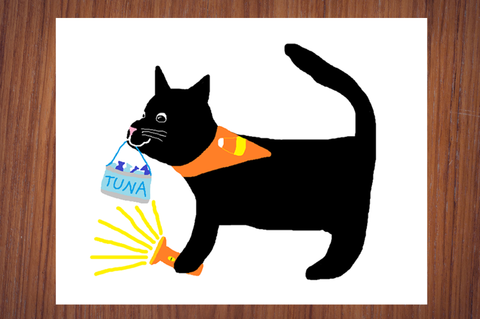 Black Cat Trick-Or-Treating Halloween Fall Autumn Poster Print
