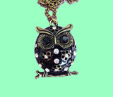 Black enamel owl necklace with jewels