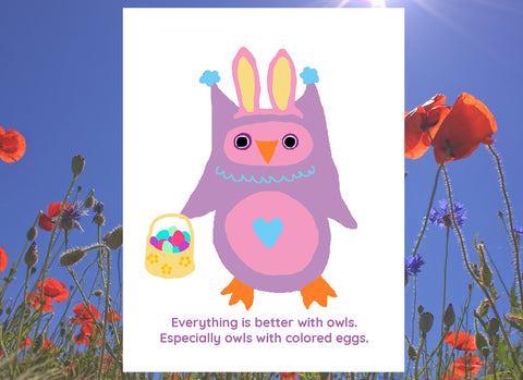 Easter Owlo the Owl Poster Print