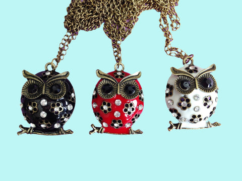 Enamel colorful owl necklaces - necklaces in black, red, & white