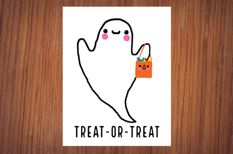 Cute Happy Ghost Treat-Or-Treat Halloween Poster