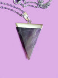 Triangle amethyst healing crystal necklace