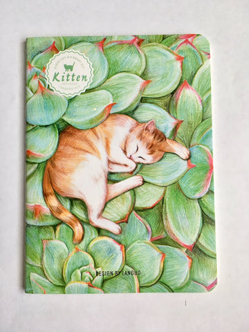 Cat Sleeping in Succulents Notebook
