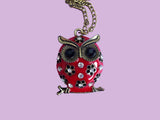 Red enamel owl necklace with jewels