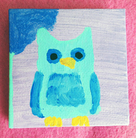 Canvas art with miniature blue whimsical owl painting