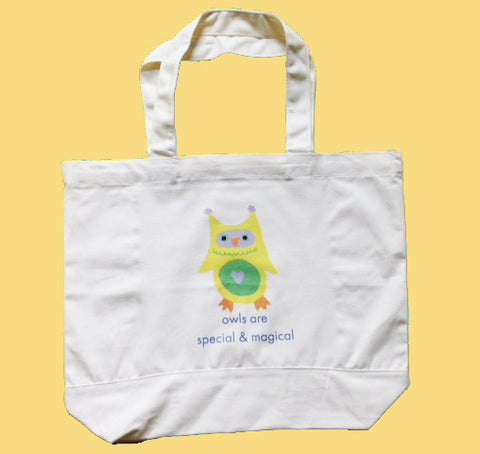 Owls are Special & Magical canvas tote bag featuring Owlo the Owl
