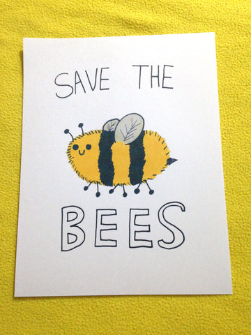 """Save the Bees"" poster with cute fluffy bee"