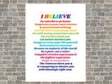 I BELIEVE Colorful Positive Life Manifesto Poster Print