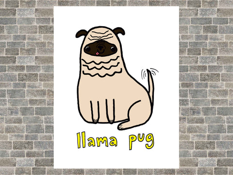 Llama Pug Dog Cute Kawaii Pet Art Poster Print