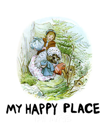 Mrs. Tiggy-Winkle Beatrix Potter Hedgehog My Happy Place Mrs. Tiddlywinkle Tiggywinkle Comforting Secret Garden Art Poster Wall Print